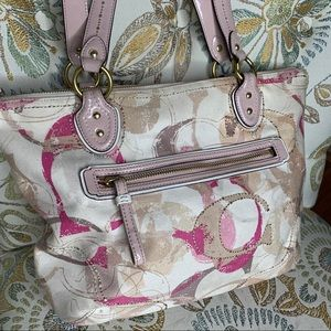 Coach 23372 POPPY Signature Hallie Tote Bag Pink